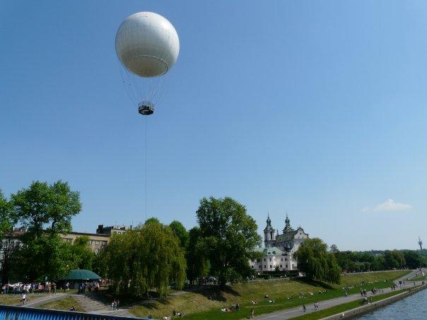 panorama Krakowa je najljepša iz balona. Balon nad Wislom