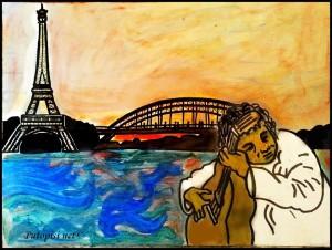Umjetnik ispred Eiffel Tour-a