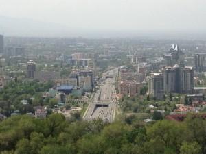 Pogled s Koktobea - moja zgrada prva velika s desne strane