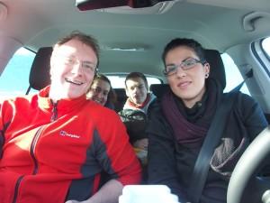 David, Lucile, Bernhard i ja u unajmljenoj Škodi