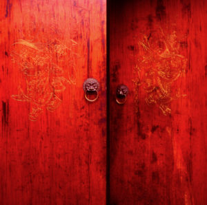 Chinese red door with lion head